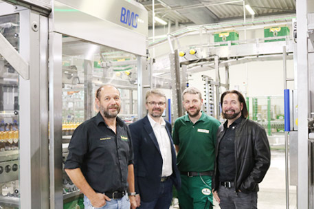 Bernhard Vötter, first brewmaster, Martin Gruner, technical manager, Frank Böhler, third brewmaster and head of the bottling hall, as well as Dieter Schmid, managing director in the fourth generation